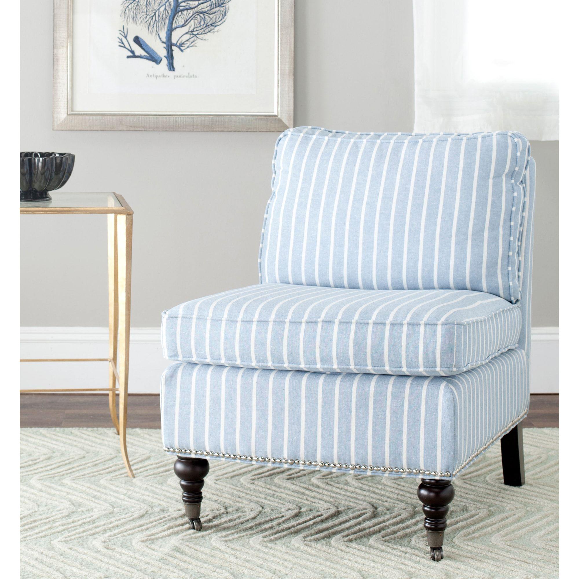 Safavieh Randy Light Blue Armless Club Chair | Overstock.com ...