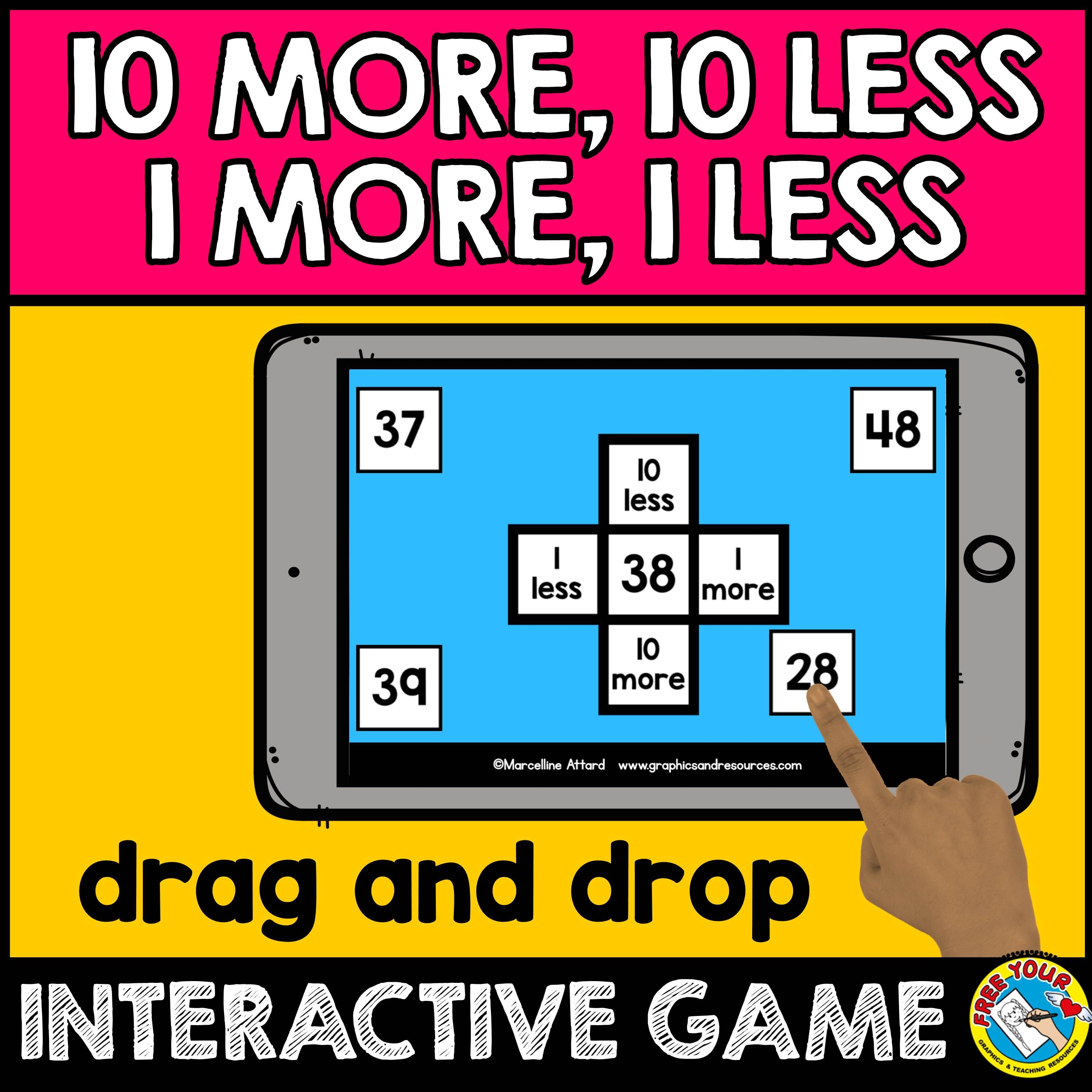 Boom Cards Math 1st Grade Hundreds Chart Puzzles 10 More 10 Less Game