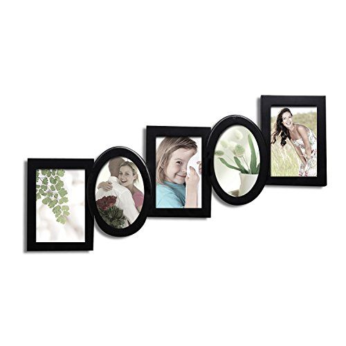 Adeco Pf0218 Black Wood Cascading Hanging Picture Frame 5 Openings