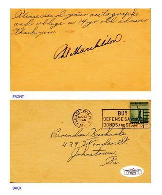 Phil Marchildon Signed 1942 Gov Postcard JSA COA Phi As . $25.00. Former Major League PitcherPhil MarchildonHand Signed 1 Cent Government PostcardPostcard is Postmarked Philadelphia, PA, August 23, 1942 (1 am)Marchildon Played For:Philadelphia Athletics 1940-1942, 1945-1949Boston Red Sox 1950Postcard responds to a 14 year old admirers autograph requestWONDERFUL AUTHENTIC PHIL MARCHILDON BASEBALL COLLECTIBLE!!! .AUTOGRAPH AUTHENTICATED BY JAMES SPENCE AUTHENTICATIONS ...