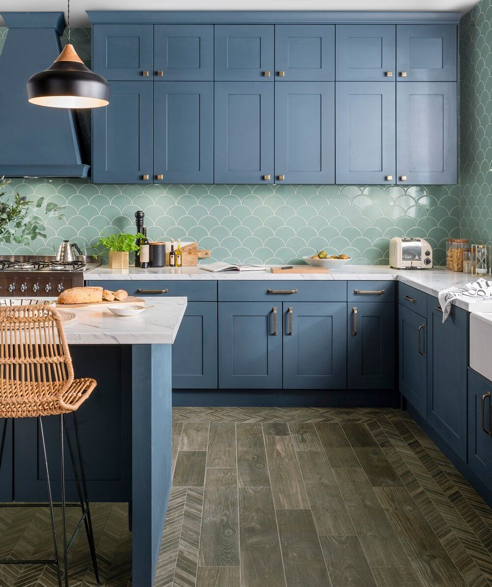 Fresh Sage In The Kitchen With Stunning Blue Kitchen Cabinets Credit Topps Tiles Melaniejadede Green Kitchen Cabinets Kitchen Design Blue Kitchen Cabinets