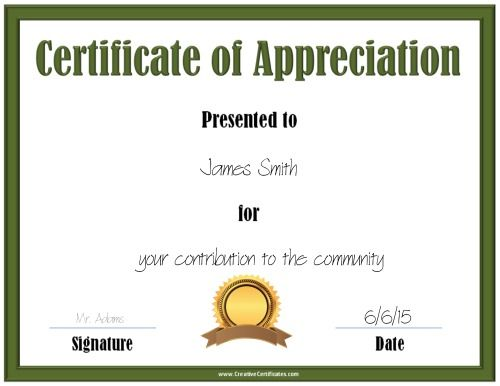 printable green certificate template with a gold and brown award