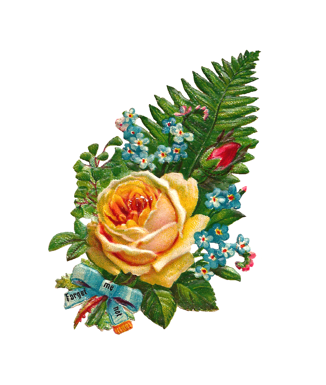 Free Digital Flower Clip Art Yellow Rose and