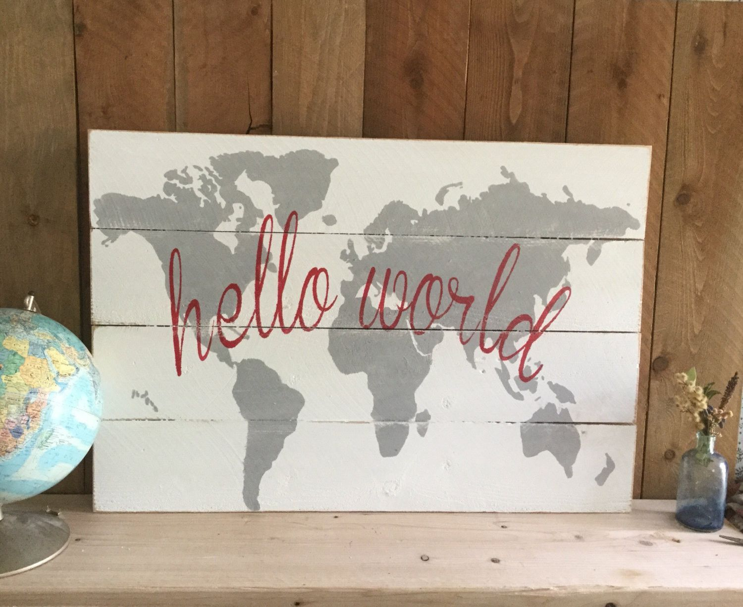 Wooden nursery map hello world nursery wall art grey wood map wooden nursery map hello world nursery wall art grey wood map rustic world gumiabroncs Image collections