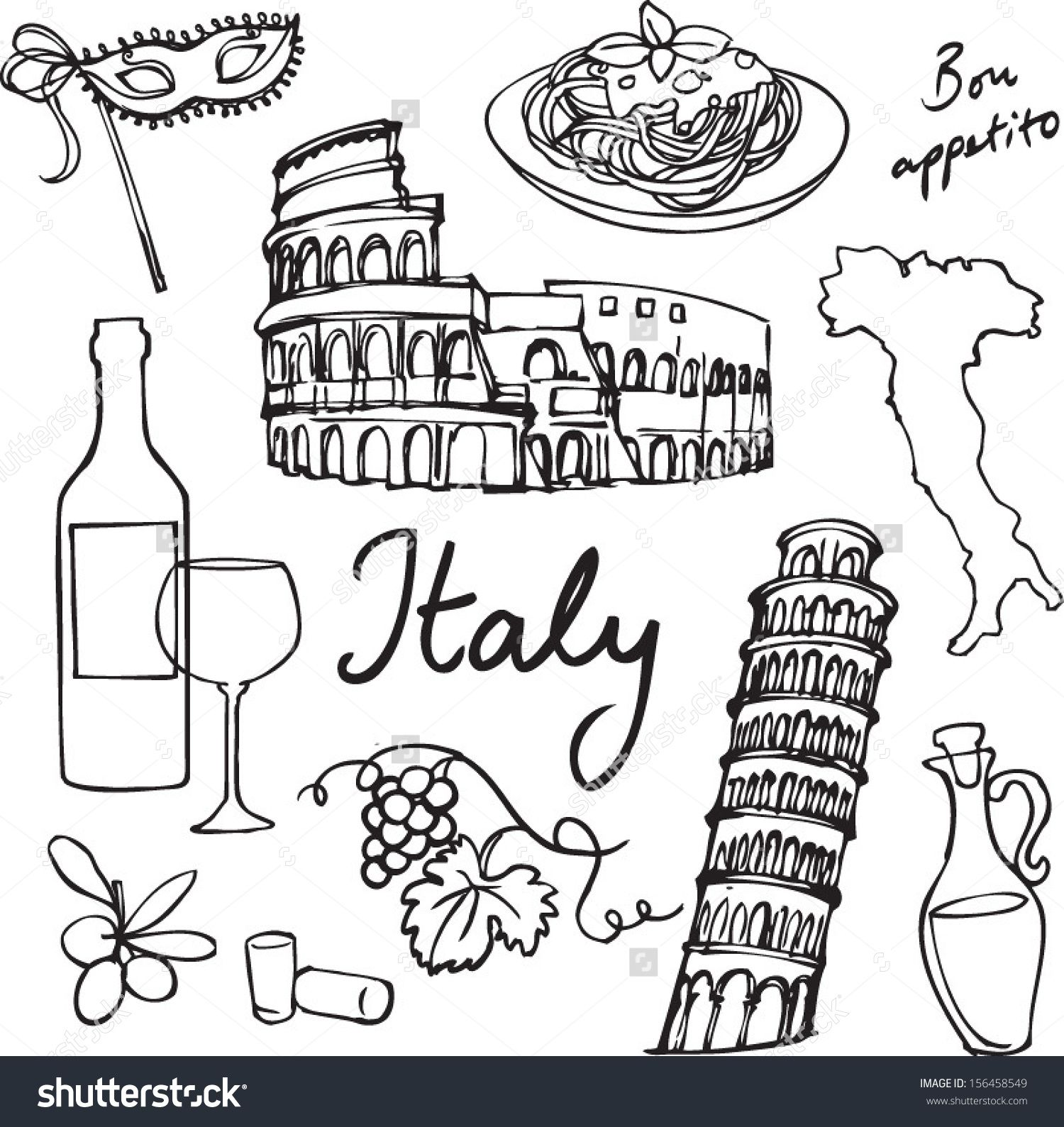 Set Of Italy Icons Doodle Vector Illustration Oodles Of Doodles