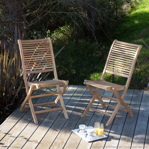 Salon de jardin 8 places 180/240cm en teck brut naturel Sanillo ...