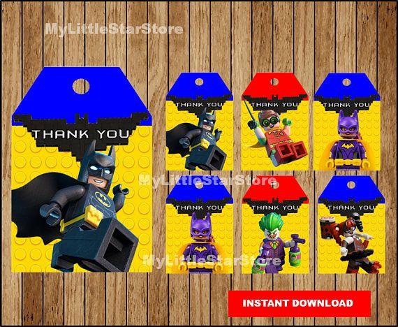 Batman Thank you tags Printable Lego Batman tags Lego Batman Lego