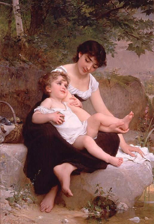 The sweetest sound to mortals given, are found in Mother, Home and Heaven.  Emile Munier Mother and Child painting