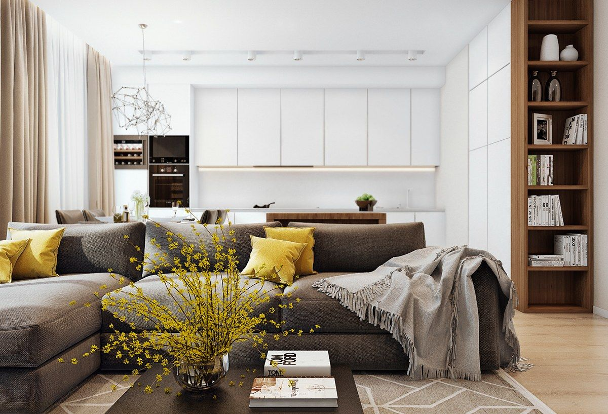 Suitable To Apply a Simple Apartment Design With Wooden Accent Decor ...