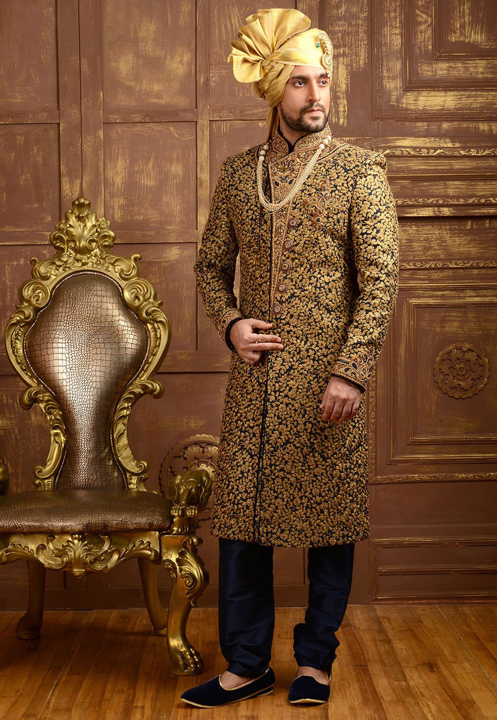 Embroidered brocade sherwani in dark blue and golden in