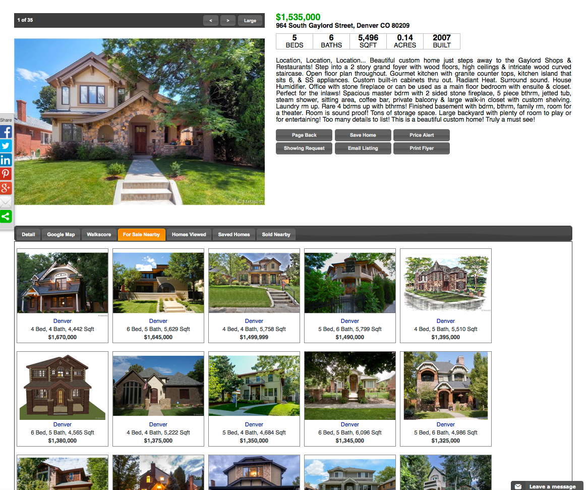 (Search result: Property showing nerby sold homes) Now you can go from searching, to finding. The stress is over. Introducing the DenverRealEstateFirm.com. No more complicated searches. No more computers guessing how you want to live. Now you can browse properties based on precisely what you want. And then dive into as much information as you need to make smart decisions. We will teach and show you how to search for your home like a pro. Think of it as a find engine, not a search engine.