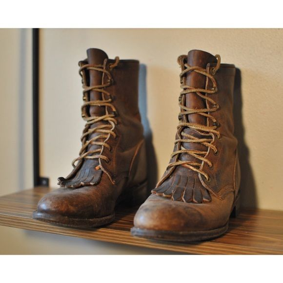 Vintage Justin roper lace-up boots