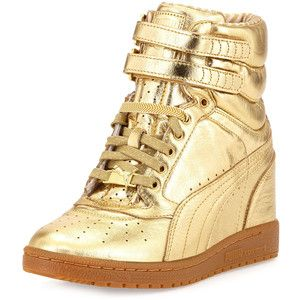 PUMA Rime Sky Wedge Leather High-Top Sneaker, Gold