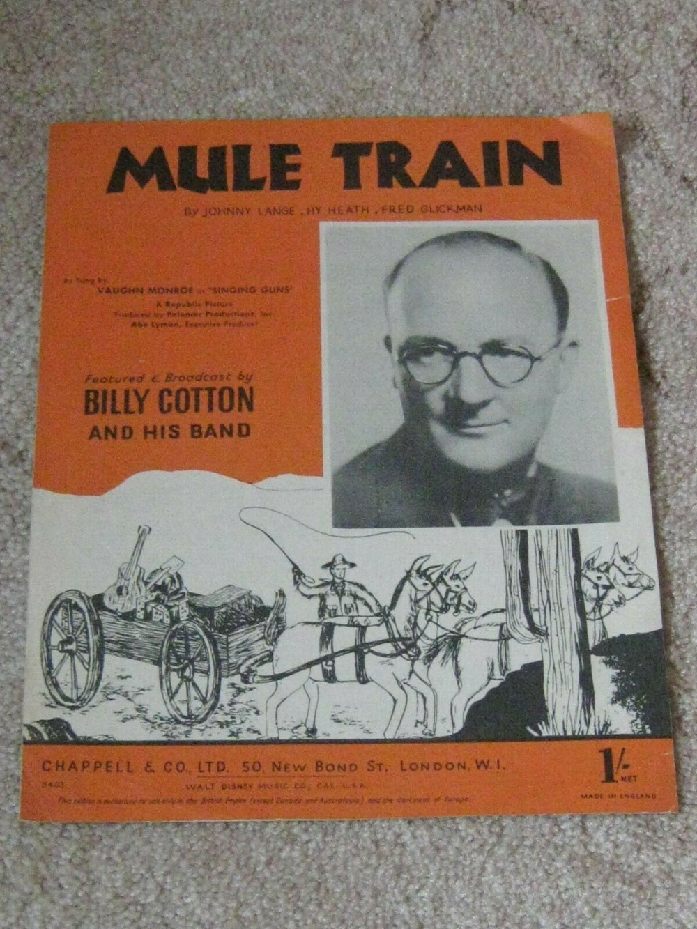 Mule Train Billy Cotton Vintage Sheet Music #vintagesheetmusic