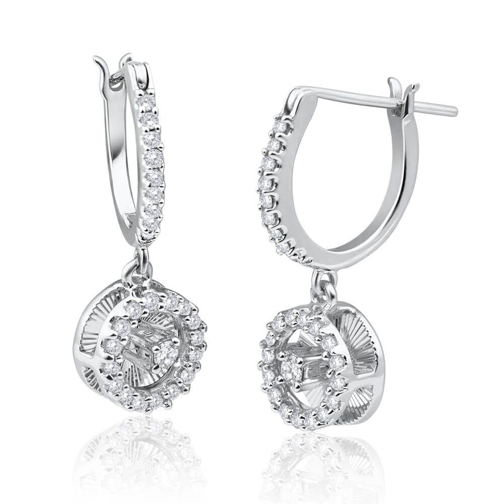 Diamond Drop Hoop Earrings In 9ct White Gold