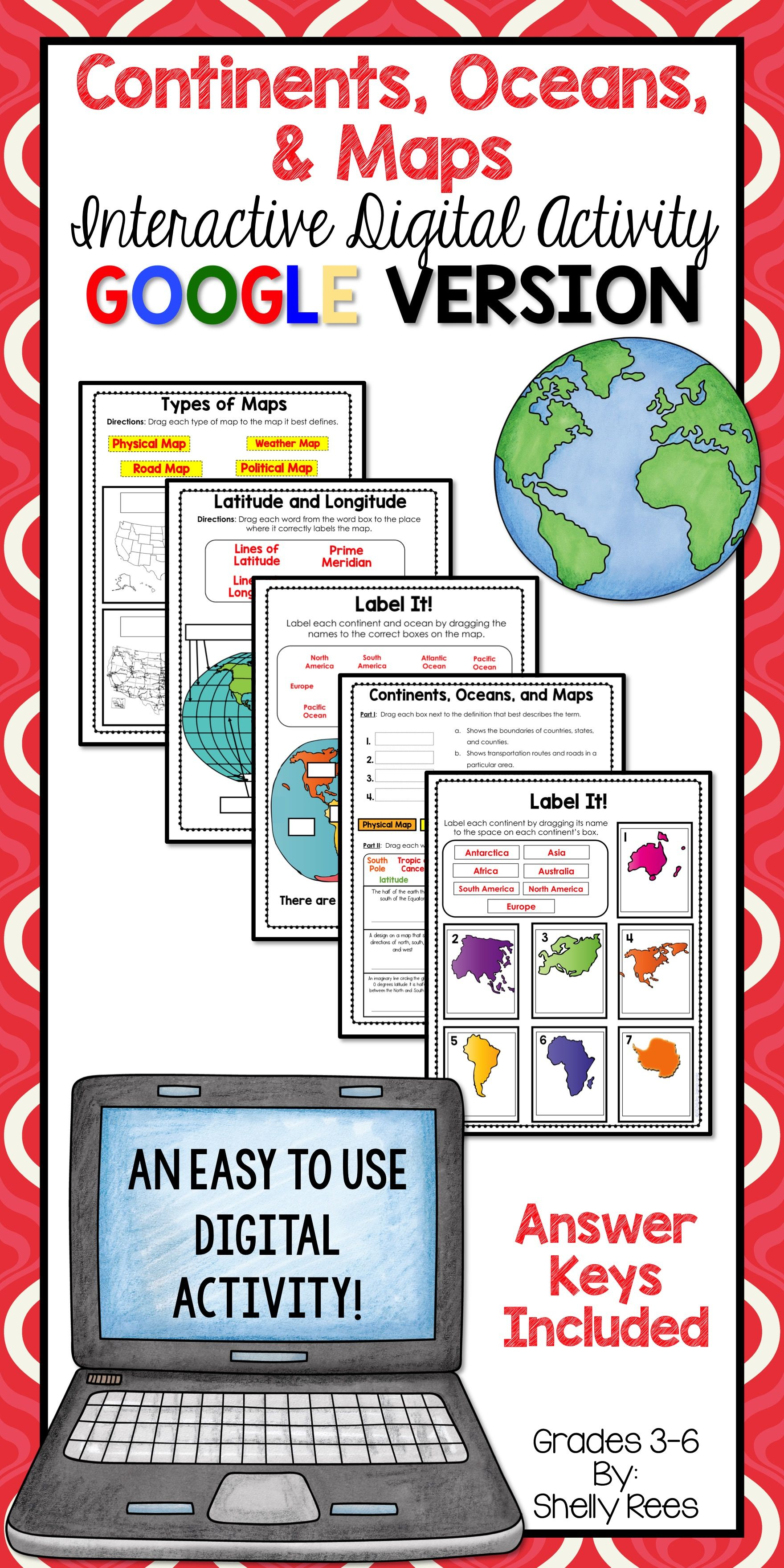 Continents And Oceans Activities For Classroom