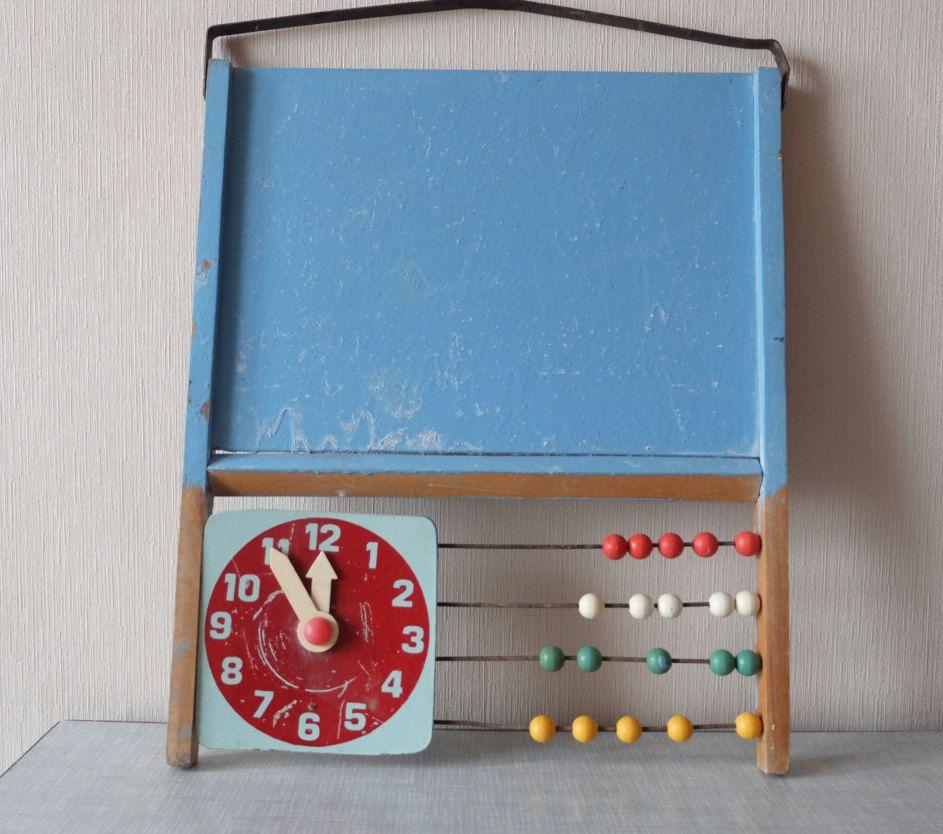 Vintage baby nursery kids wall art abacus calculator wood for Lumber calculator for walls