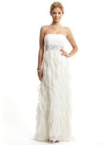 NWT Sue Wong Strapless Ivory Feather Gown *Size 4