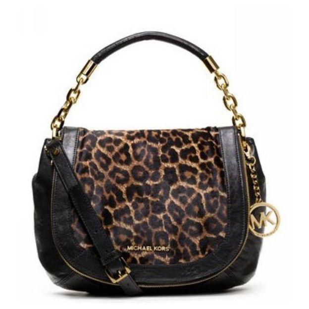 #FallingInLoveWith Michael Kors Stanthorpe Leopard Medium Black Shoulder Bags