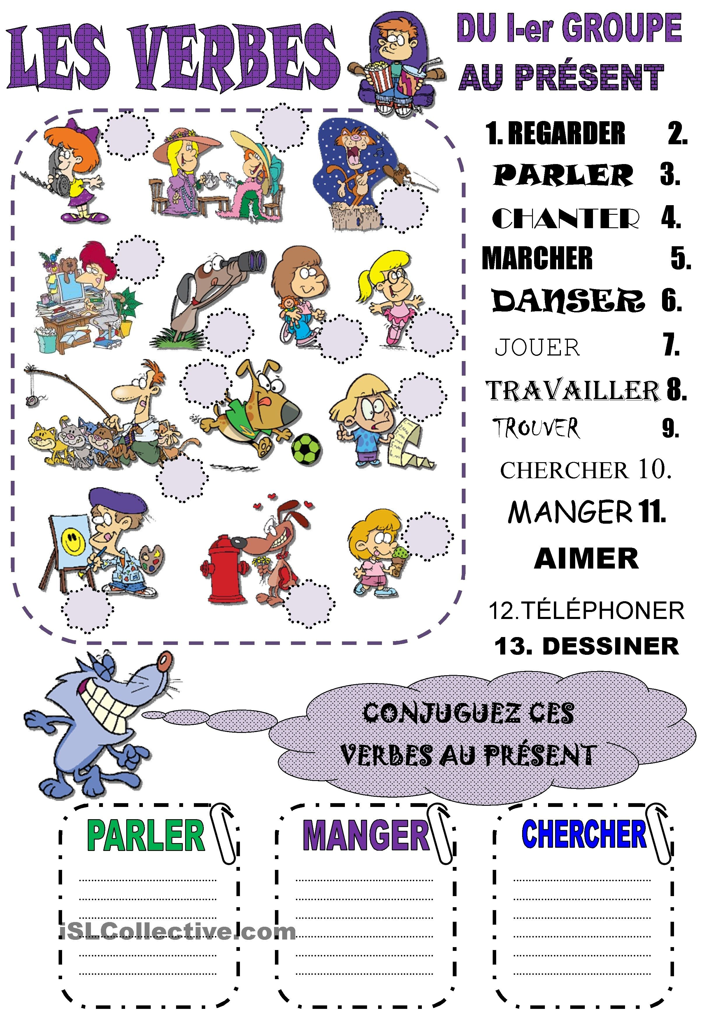 Les Verbes Du I Er Groupe Au Present