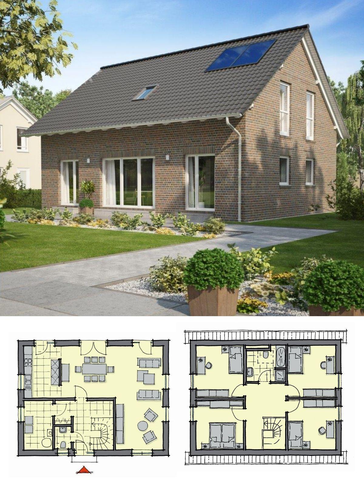 Satteldach Haus mit Klinker Fassade & 5 Zimmer Grundriss