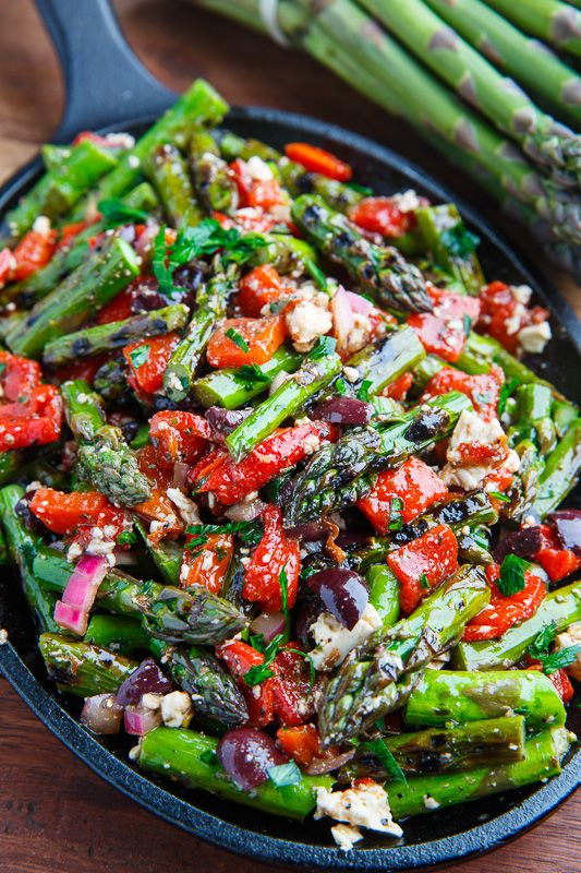 Grilled Asparagus with Marinated Roasted Red Peppe