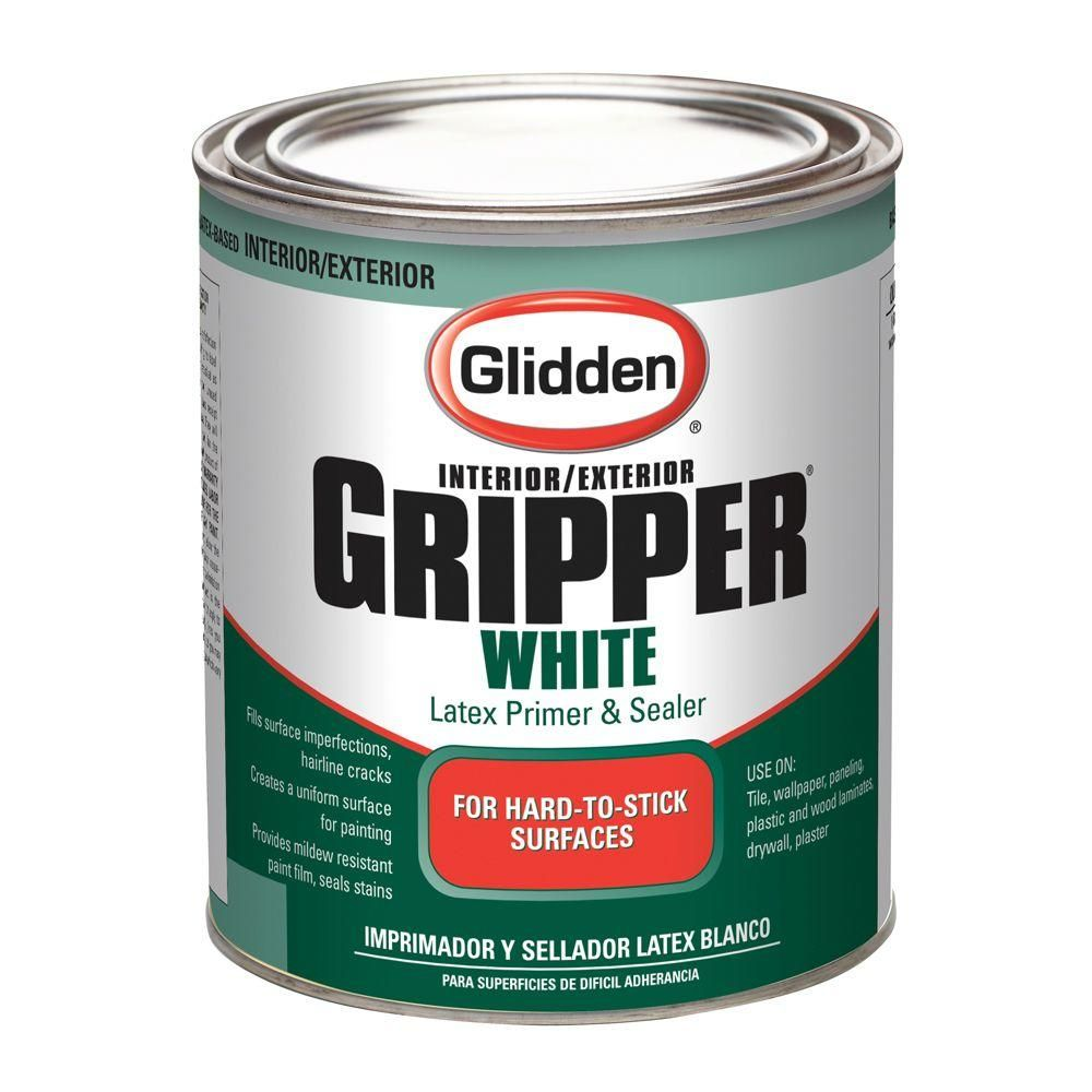 Glidden Gripper 1 Qt White Primer Sealer Gl3210 1200 04 At The Home Depot Painting Laminate Painting Over Tiles Painting Laminate Furniture