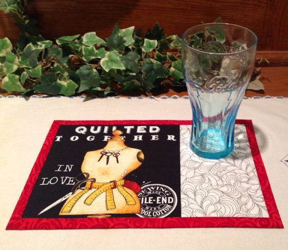 Quilted Mug Rug   Snack Mat  Quilting Theme  by PattiesPieces
