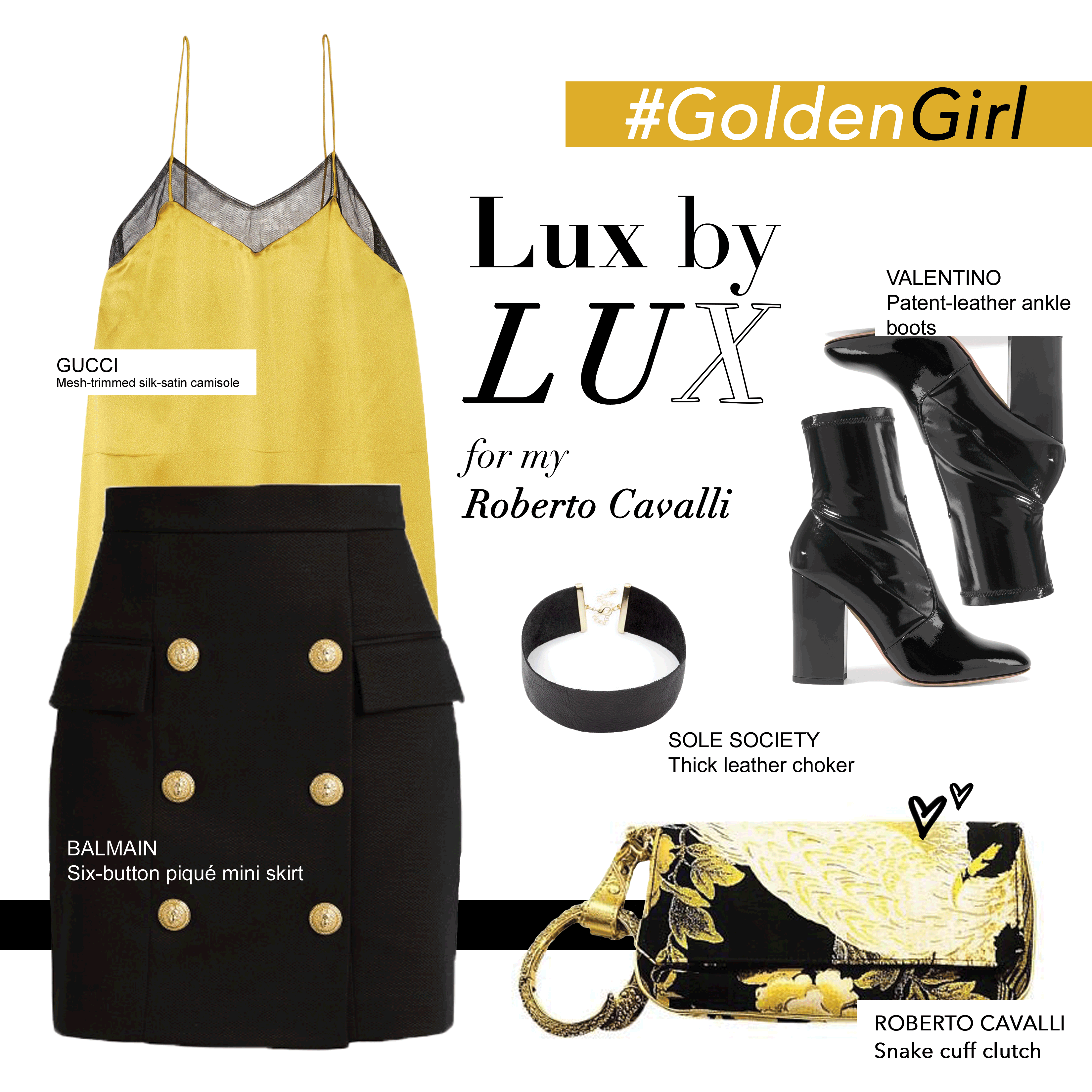Gold silk gucci top with a Balmain skirt with gold button detail paired with Valentino ankle booties and our Roberto Cavalli. Shop our purse now at www.luxsecondchance.com