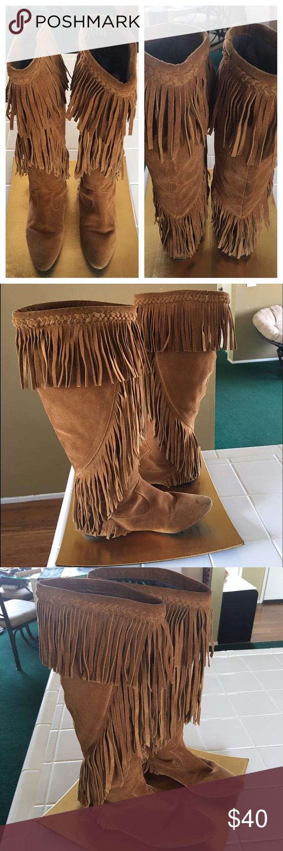 f6cd96a55 Sam Edelman Utah Knee Boot Fringe Camel SZ 6 Boho