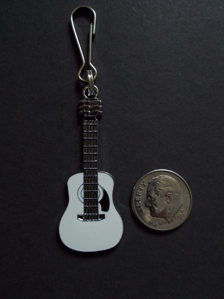 Guitar Zipper Pull Silver Plated
