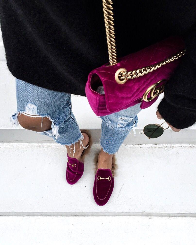 Gucci Mocassins En Velours Princetown - Rose Et Violet ExaFm0eP