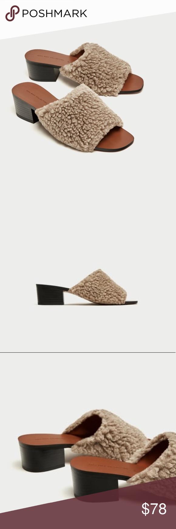 inches -faux shearling Zara Shoes Mules