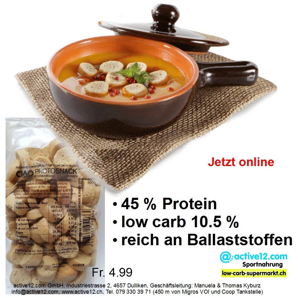 Protosnack Formaggio Ciaocarb, Käse-Crackers, 45 % Protein, low carb 10.5 %, reich an Ballaststoffen - jetzt online ►►► http://www.active12.ch/Nahrungsmittel-und-Sportnahrung/Spezialnahrungsmittel/Chips-Riegel-und-Snacks/Snacks--low-carb-/Protosnack-Formaggio-Ciaocarb.html #CiaoCarb #Protosnack #Formaggio #Käse #Crackers #knabbern #snack #TVsnack #highprotein #lowcarb #ballaststoffreich #nahrungsfasern #Suppe #Salat #Fondue #abnehmen #abspecken #Gewichtsreduktion #Figur #Fitness #Dulliken…