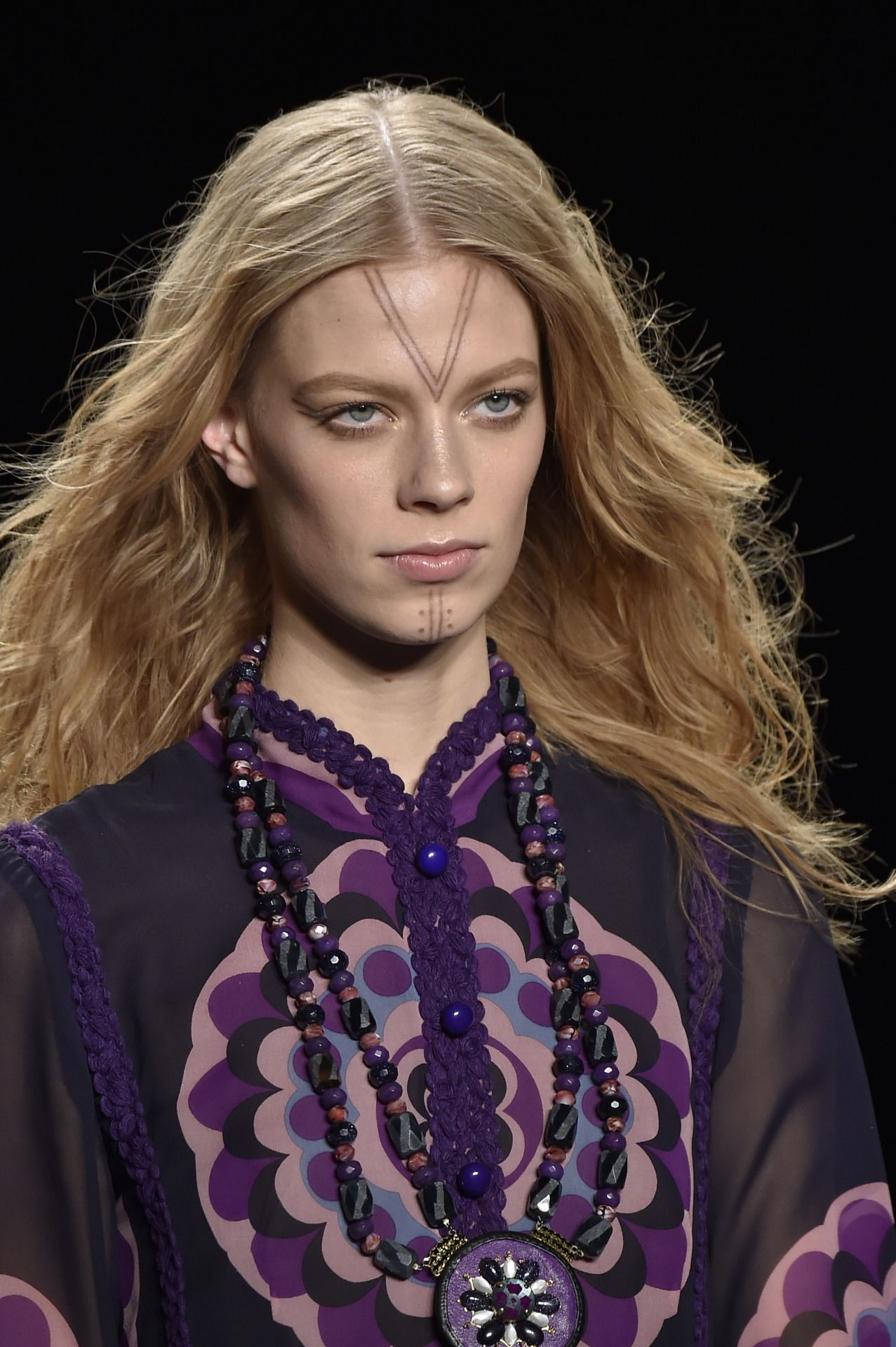 The models at the annasui show sported inuit face tattoos