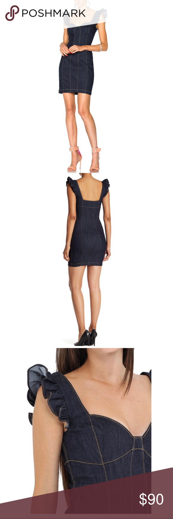 a2d734f3d6 Cinq a Sept Mathis Dress in Indigo This inky Cinq a Sept denim dress is  detailed with subtle ruffles and contrast stitching. The sweetheart  neckline adds an ...