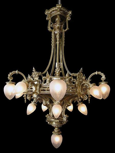 Massive 19th Century solid bronze chandelier with winged griffin ...