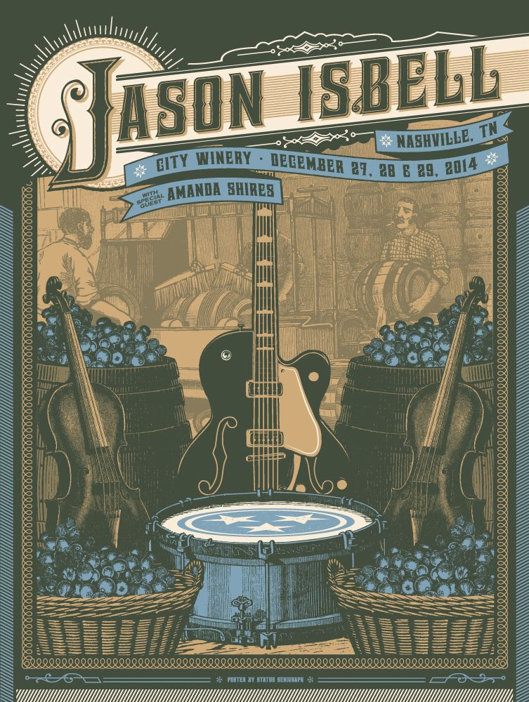 Lyric i dreamed i saw st augustine lyrics : Jason Isbell at City Winery concert poster via Status Serigraph ...