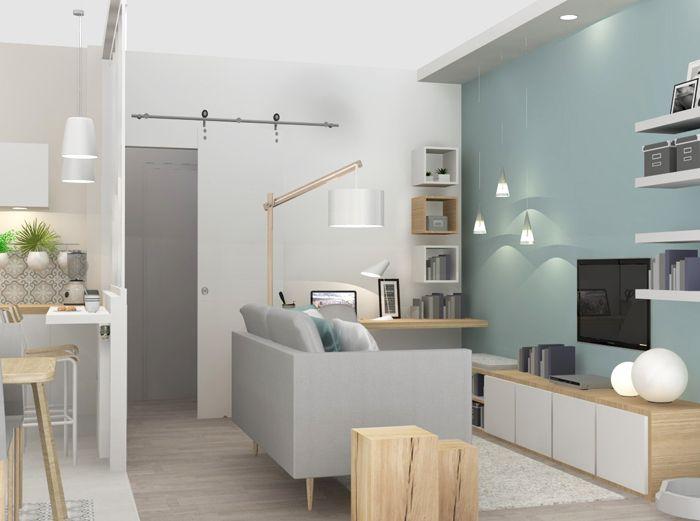 Coin salon bleu baltique (Agence architecture Marion Lanoe ...