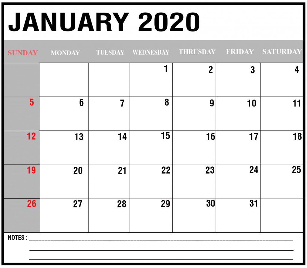 Editable January 2020 Calendar: Editable January 2020 Blank Calendar With Notes