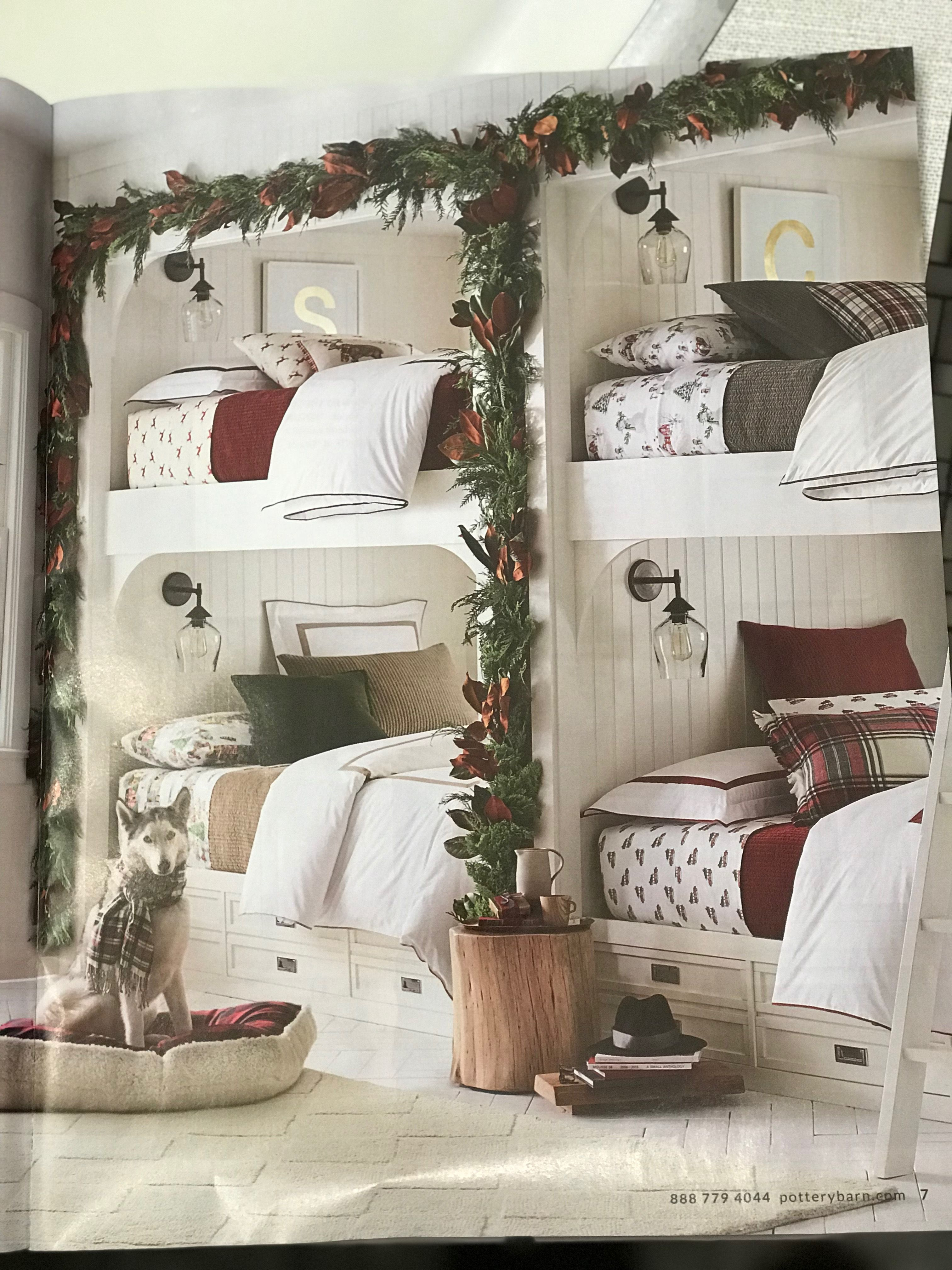 love this gorgeous holiday bunk room pottery barn bed and bath early holiday 2017