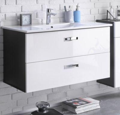 Waschbeckenunterschrank weiss hochglanz  grau mit Becken Jetzt - badmöbel kleines badezimmer