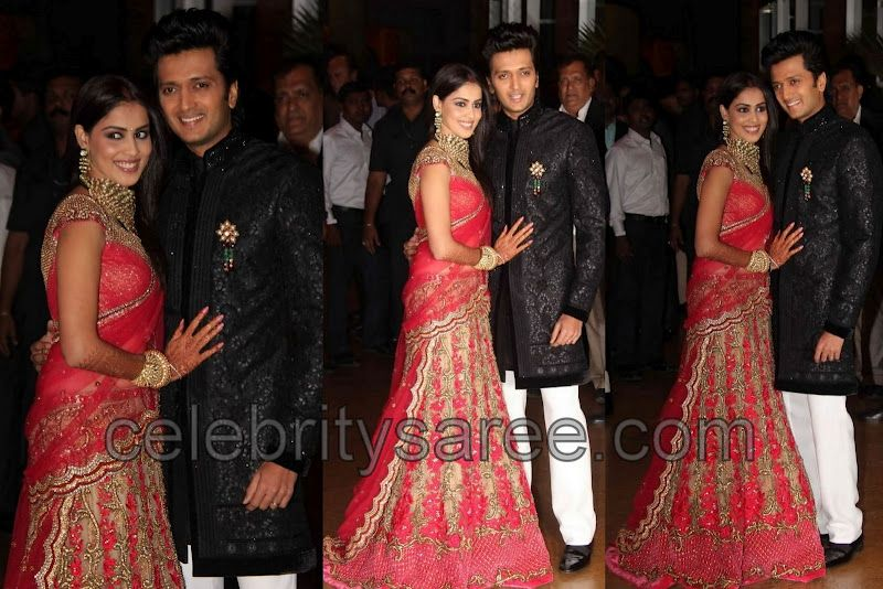 Genelia In Lehenga At Her Reception Indian Bridal Pinterest