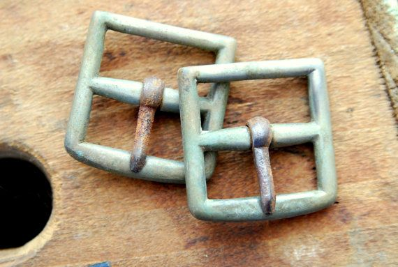 2 Antique Square Buckles Made in England by VintageLancaster, $12.00
