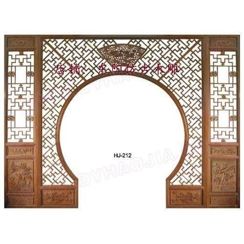 Wooden Lattice Wall Decor : Dongyang wood carving antique chinese moon gate floor