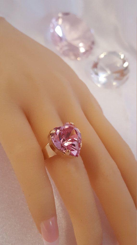 Pink Gold Heart Ring Light Rose Swarovski Crystal Large Heart Ring Pink Gold Bridesmaid Blush Ring Pink Crystal Gold Heart Ring Valentine Ring Heart Ring