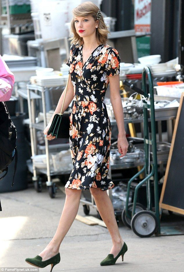248a405156ed Blossoming  Taylor Swift looked flawless in a vintage-style flower print  dress in New York today