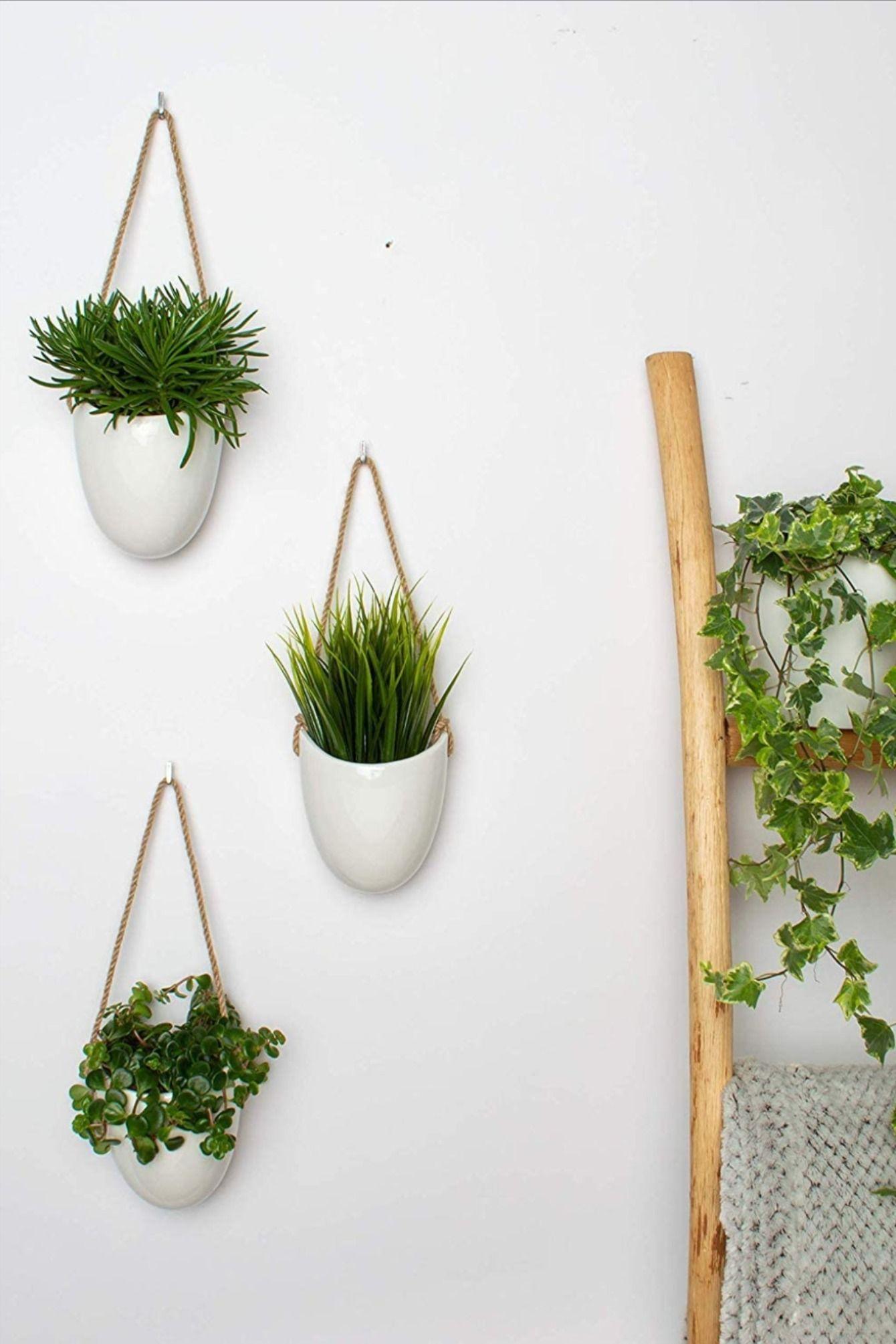 Wandvasen 3 Teiliges Set Aus Weisser Keramik Wanddeko Vase Planzen Wand Schmucken In 2020 Wandvase Weisse Keramik Wandschmuck