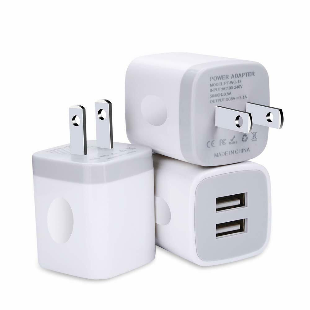 3 pack wall charger usb plug dual port charging block fast
