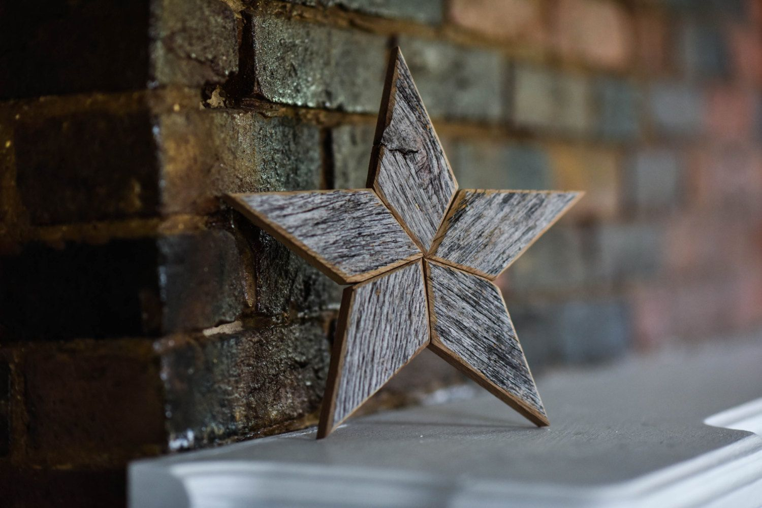 Gray Star Christmas Tree Topper Decoration 10 inch star